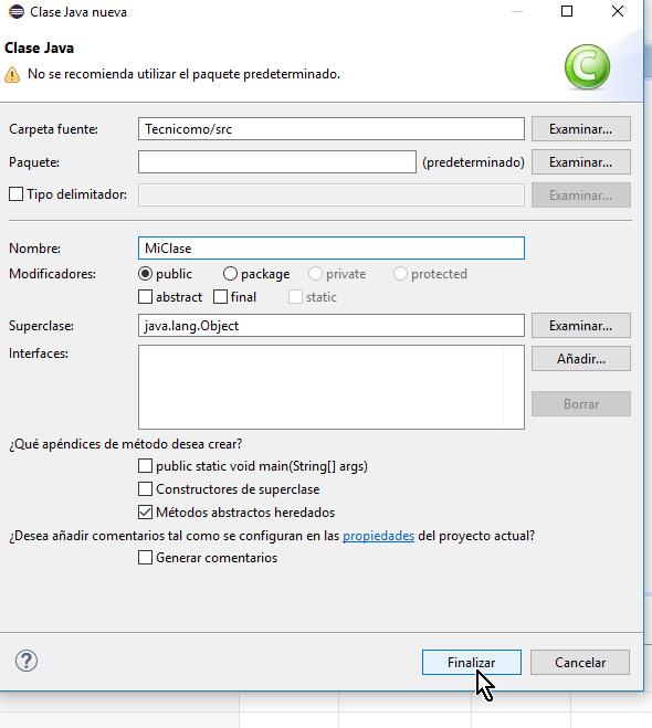 Botón Finalizar para proceder con la creación de la clase en cómo crear una clase de Java en Eclipse