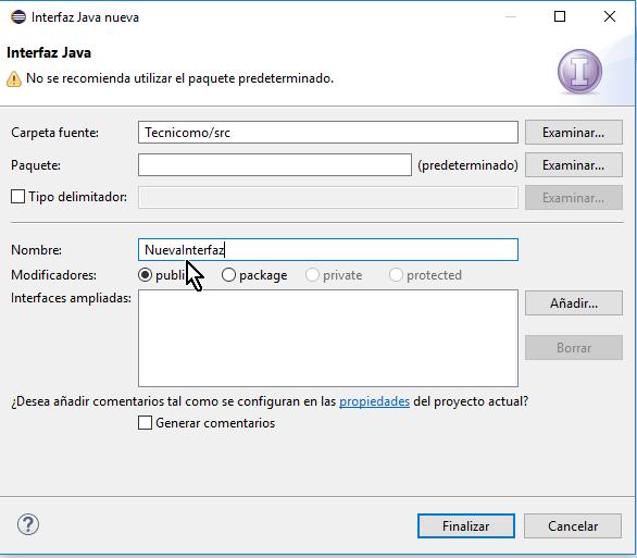 Dándole nombre a la interfaz en cómo crear una interfaz de Java en Eclipse