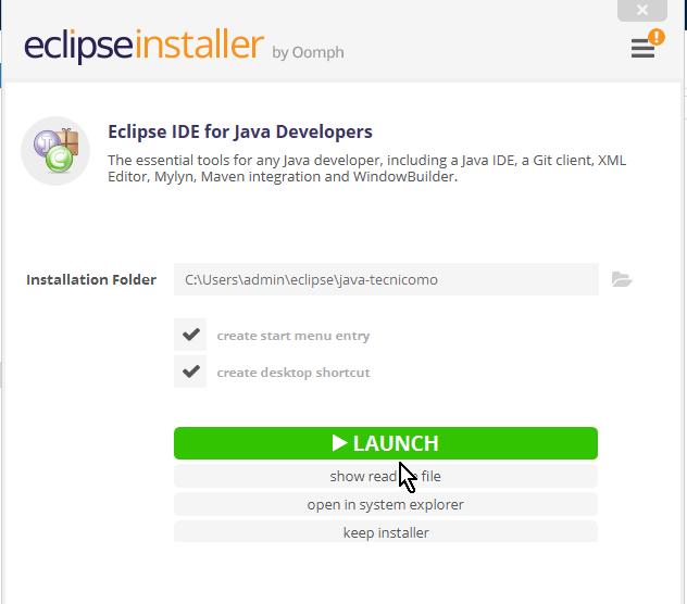 Botón Launch para lanzar Eclipse en cómo descargar e instalar Eclipse IDE