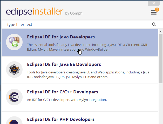 Selecciona la opción Eclipse IDE for Java Developers en cómo descargar e instalar Eclipse IDE