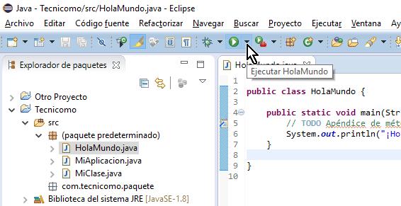 Botón Ejecutar en la barra de herramientas en cómo ejecutar un programa de Java en Eclipse