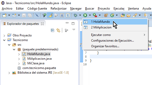 Lista de programas que se pueden ejecutar en cómo ejecutar un programa de Java en Eclipse