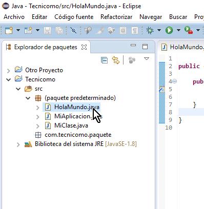 Seleccionando la clase en el Explorador de paquetes en cómo ejecutar un programa de Java en Eclipse