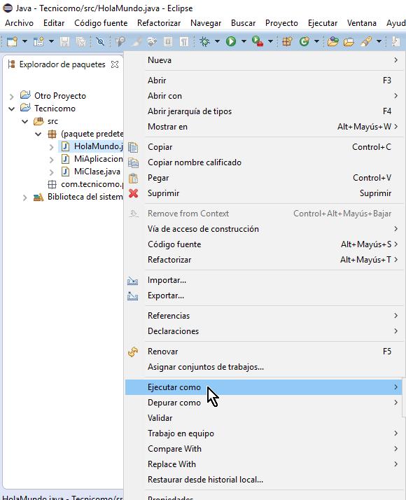 Opción Ejecutar como en cómo ejecutar un programa de Java en Eclipse