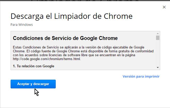 Aceptar y descargar las condiciones de servicio en cómo limpiar Google Chrome de software malintencionado