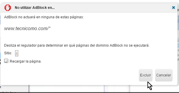 Botón para Excluir un dominio en AdBlock Plus para Google Chrome