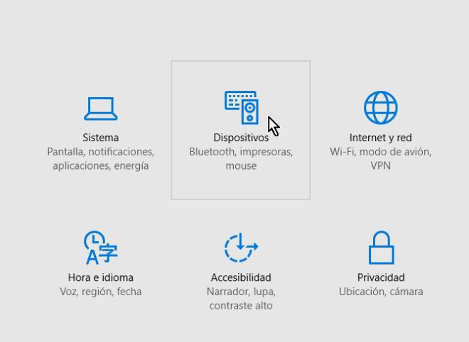 Selecciona Dispositivos en cómo acceder el Administrador de dispositivos en Windows 10