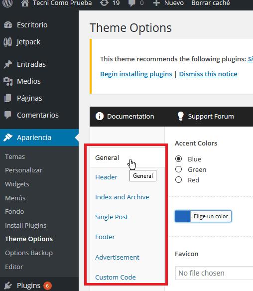 Categorías para configurar el tema en cómo descargar y usar el tema FreshLife de WordPress