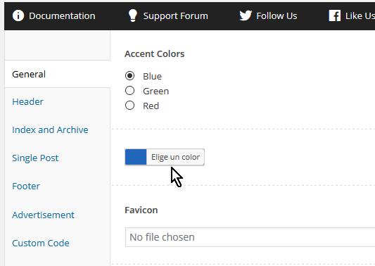 Botón Elige un color en cómo personalizar las opciones generales del tema FreshLife de WordPress