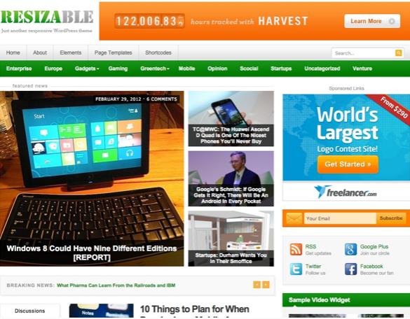 Plantilla o tema Resizable en lista de excelentes temas de WordPress para blogs