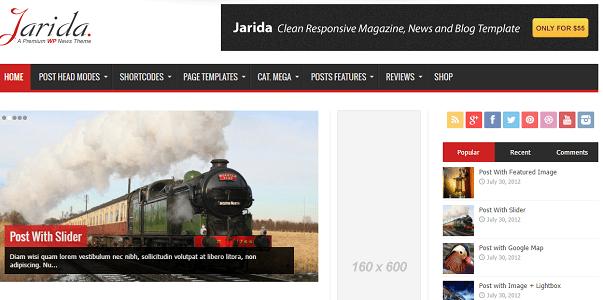 Plantilla o tema Jarida en lista de excelentes temas de WordPress para blogs