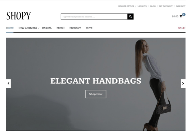 Tema Shopy en lista de valiosos temas premium de WordPress para ecommerce