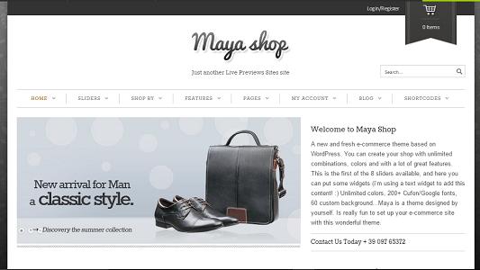 Plantilla MayaShop en temas premium de WordPress disponibles en español