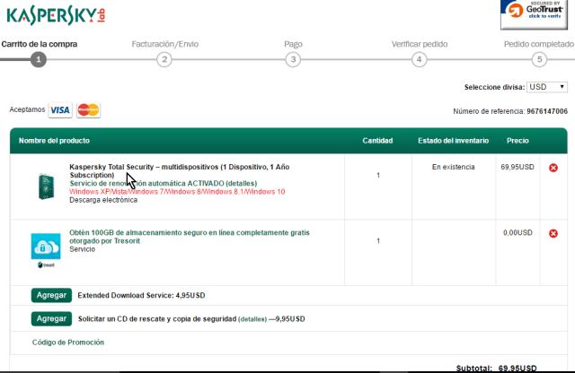 Detalles de la compra del antivirus Kaspersky Total Security multidispositivos