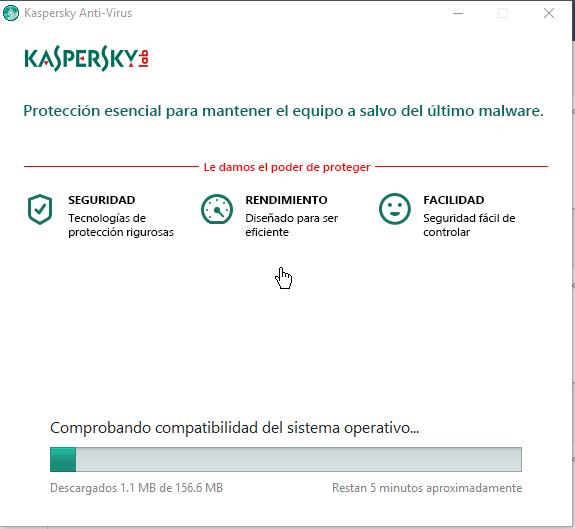 Barra de progreso de la instalación en cómo descargar e instalar Kaspersky Antivirus 2016