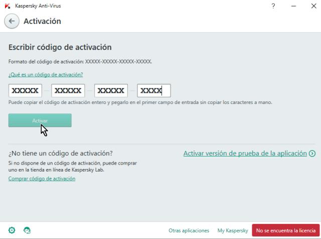 Ventana para entrar el código de activación en cómo descargar e instalar Kaspersky Antivirus 2016