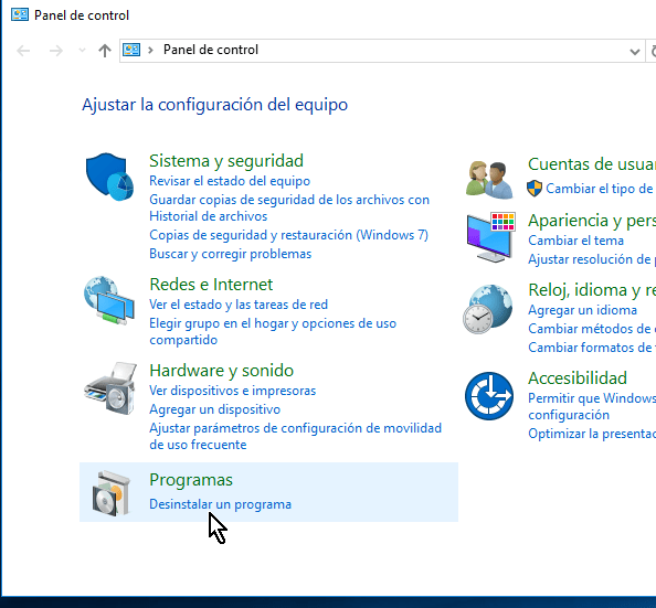 Panel de control en cómo desinstalar VirtualBox en Windows 10