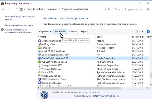 Pulsa el botón Desinstalar en cómo desinstalar VirtualBox en Windows 10