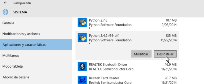 Botón Desinstalar de la Configuración en cómo desinstalar un programa en Windows 10