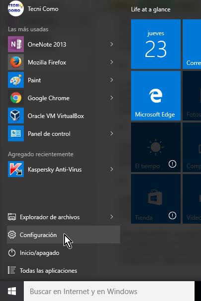 Opción Configuración del menú Inicio en cómo desinstalar un programa en Windows 10