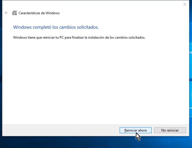 Botón Reiniciar ahora en cómo habilitar VirtualBox 64 bits en Windows 10