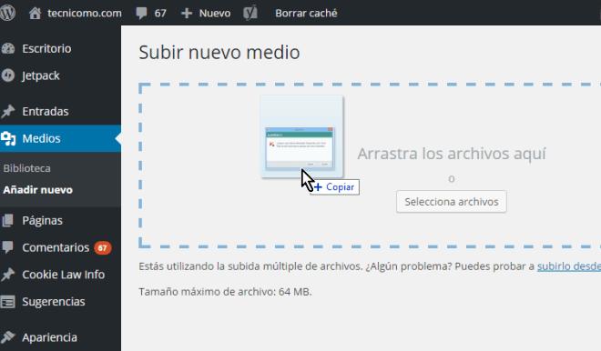 Arrastrando y soltando las imágenes en WordPress en cómo resolver el error HTTP al subir imágenes en WordPress