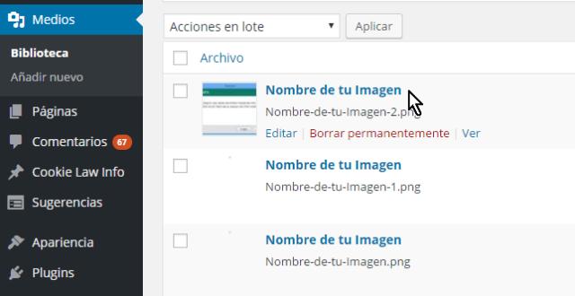Lista de imágenes en la Biblioteca en cómo resolver el error HTTP al subir imágenes en WordPress