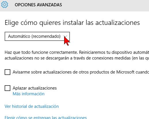 Eligiendo cómo instalar las actualizaciones en cómo configurar las actualizaciones automáticas de Windows 10