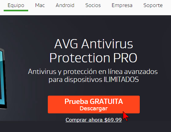 Botón Prueba Gratuita Descargar en cómo descargar e instalar AVG Antivirus Protection Pro