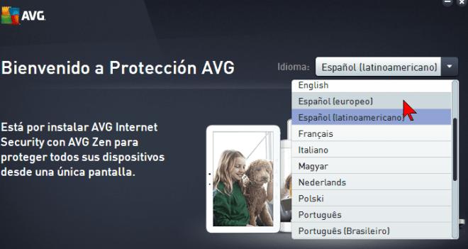 Selecciona el tipo de idioma Español en cómo descargar e instalar AVG Antivirus Protection Pro