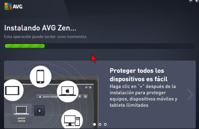 Barra de progreso de la Instalación en cómo descargar e instalar AVG Antivirus Protection Pro