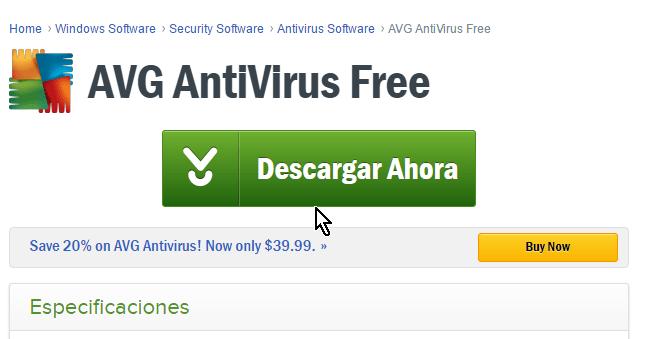 Botón Descargar Ahora en cómo descargar e instalar AVG Antivirus Protection gratis