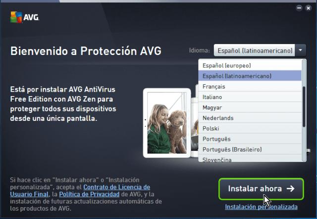Botón Instalar ahora en cómo descargar e instalar AVG Antivirus Protection gratis