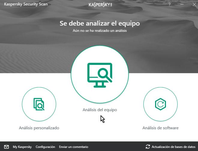Ventana principal del antivirus instalado en cómo descargar e instalar Kaspersky Security Scan gratis