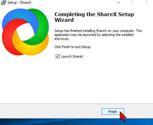 Finalizando la instalación de ShareX en cómo descargar e instalar ShareX para capturas de pantalla