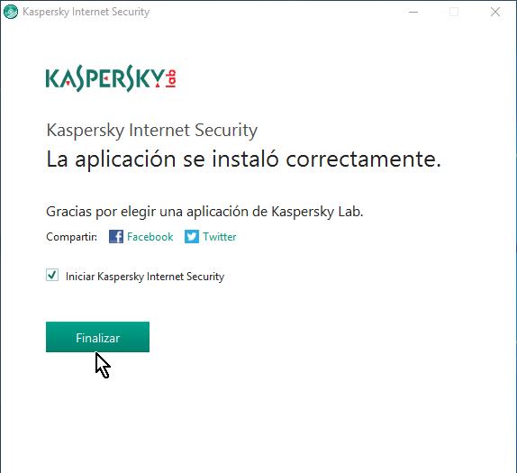 Botón Finalizar en cómo descargar e instalar el antivirus Kaspersky Internet Security - Multidispositivos 2016