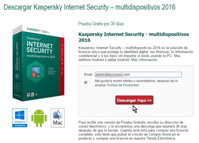 Correo electrónico y botón Descargar Aquí en cómo descargar e instalar el antivirus Kaspersky Internet Security - Multidispositivos 2016