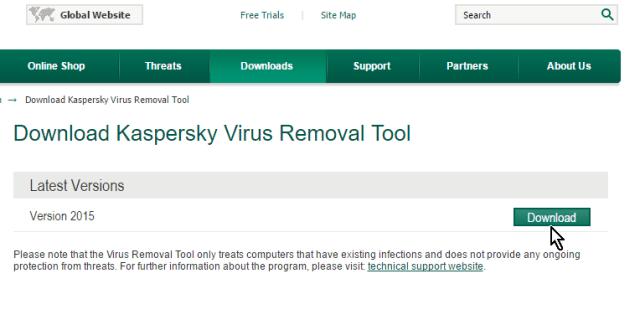 Botón Download en cómo descargar y usar Kaspersky Virus Removal Tool