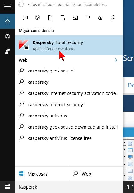 Antivirus Kaspersky desde el Cuadro de búsqueda de Windows 10 en cómo ejecutar el antivirus Kaspersky Total Security 2016