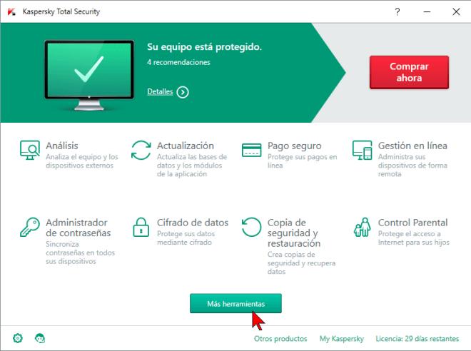 Ventana principal del antivirus Kaspersky en cómo ejecutar el antivirus Kaspersky Total Security 2016