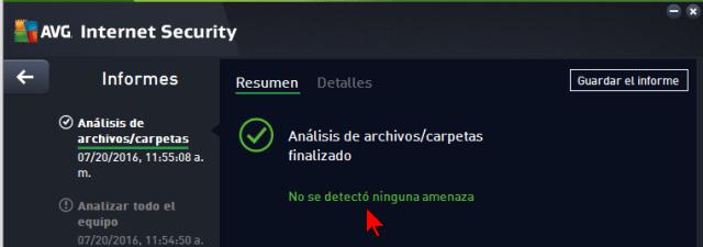 Ventana con los resultados del escaneo en cómo escanear tu PC con el AVG Antivirus Protection Pro manualmente