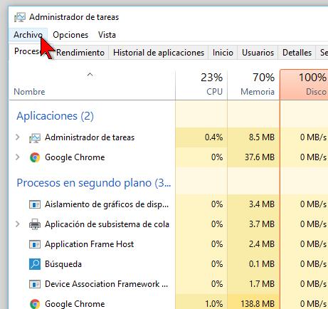 Opción Archivo del Administrador de tareas en cómo abrir el Símbolo del sistema en Windows 10