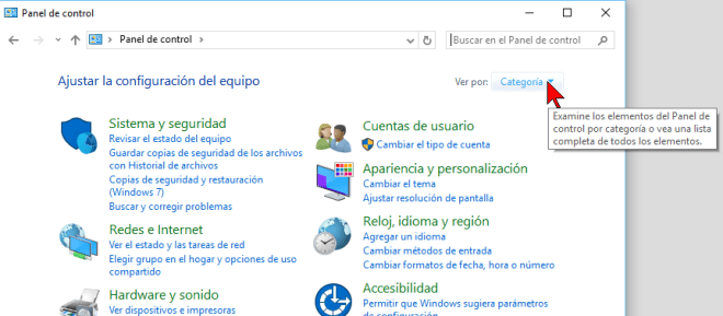 Opción Ver por en cómo cambiar la visualización del Panel de control en Windows 10