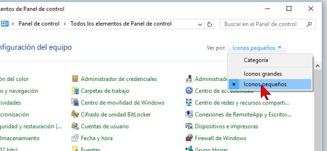 Organizar por Iconos pequeños en cómo cambiar la visualización del Panel de control en Windows 10