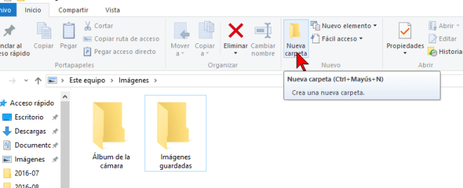 Botón Nueva carpeta de la Cinta de opciones en cómo crear una nueva carpeta en Windows 10