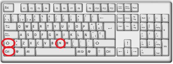 Combinación de teclas para crear carpeta usando el teclado en cómo crear una nueva carpeta en Windows 10