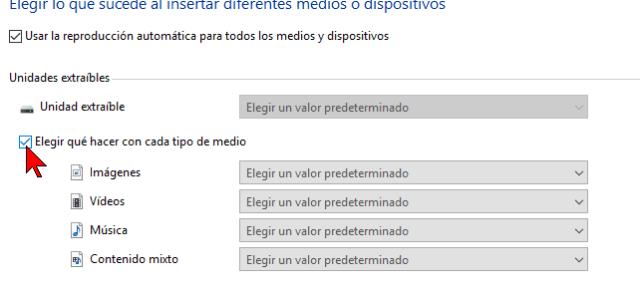 Casilla Elegir qué hacer con cada medio en cómo habilitar o deshabilitar la reproducción automática en Windows 10