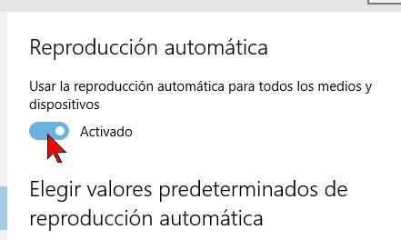Botón de activación en cómo habilitar o deshabilitar la reproducción automática en Windows 10