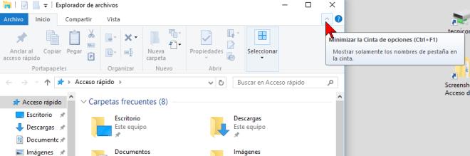 Flechita para ocultar en cómo mostrar u ocultar la Cinta de opciones en Windows 10
