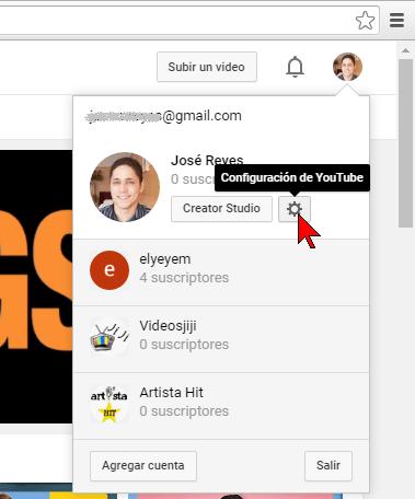 Botón Configuración de YouTube en cómo transferir un canal de YouTube a otra cuenta